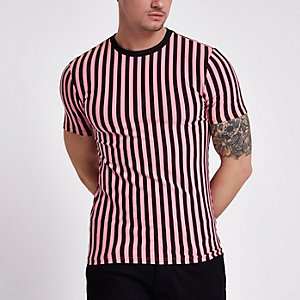 Pink horizontal stripe muscle fit T-shirt