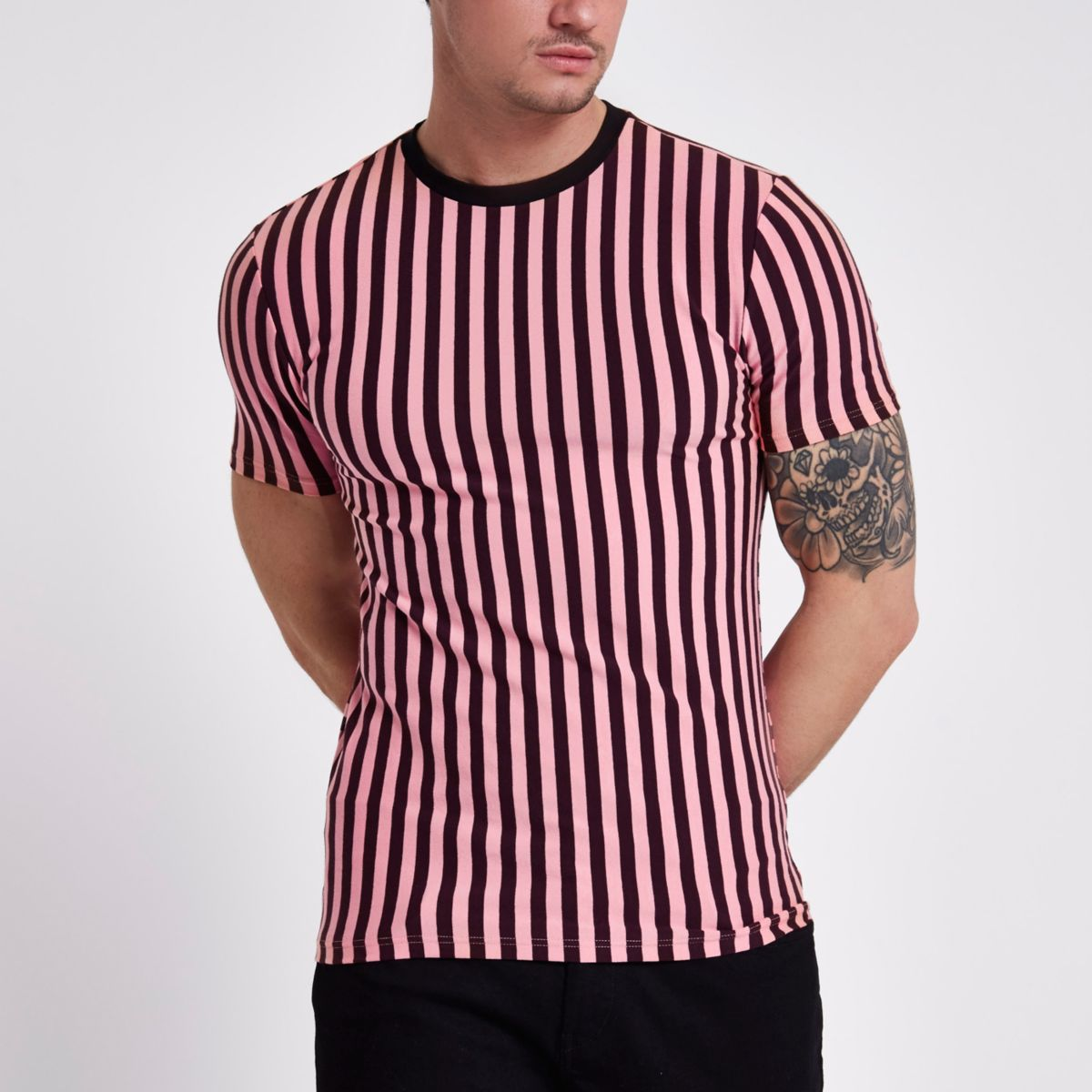 Pink horizontal stripe muscle fit T-shirt