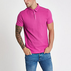 Polo coupe slim texturé rose