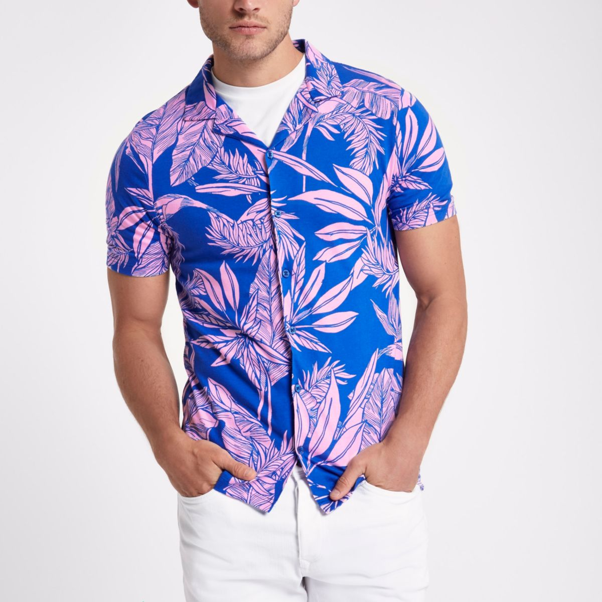 Blue muscle fit tropical print jersey shirt