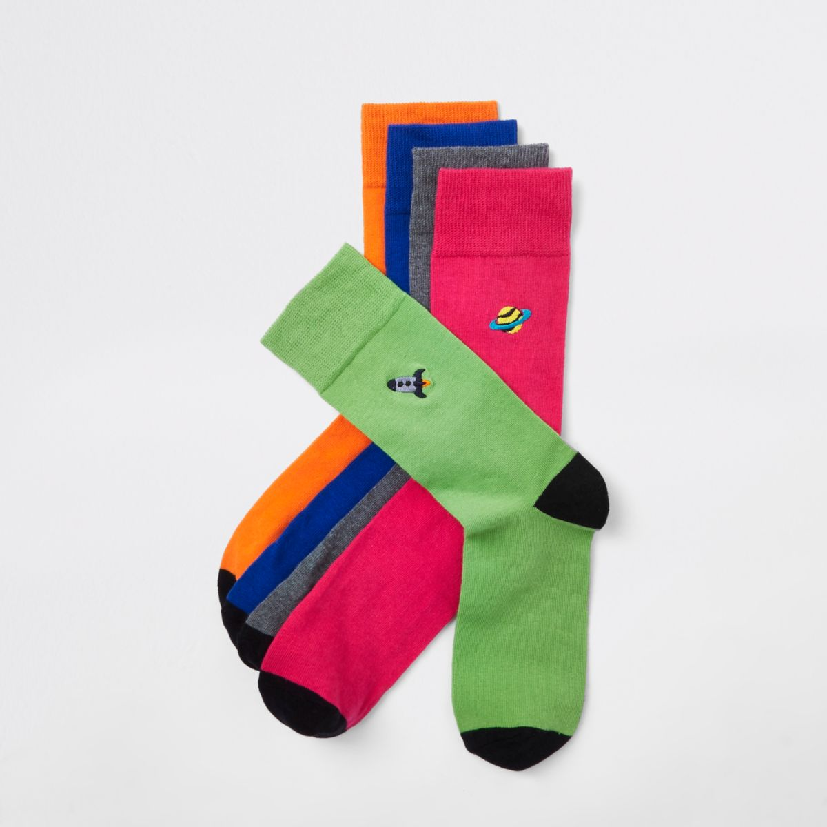 Orange space print socks multipack