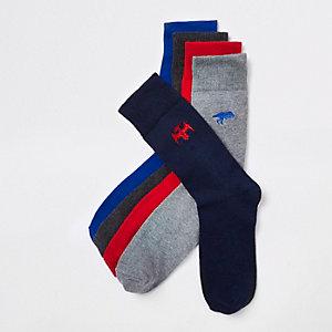 Multipack grijze sokken met geborduurde dinosaurussen