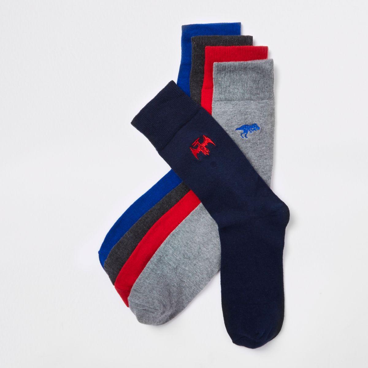 Grey dinosaur embroidered socks multipack