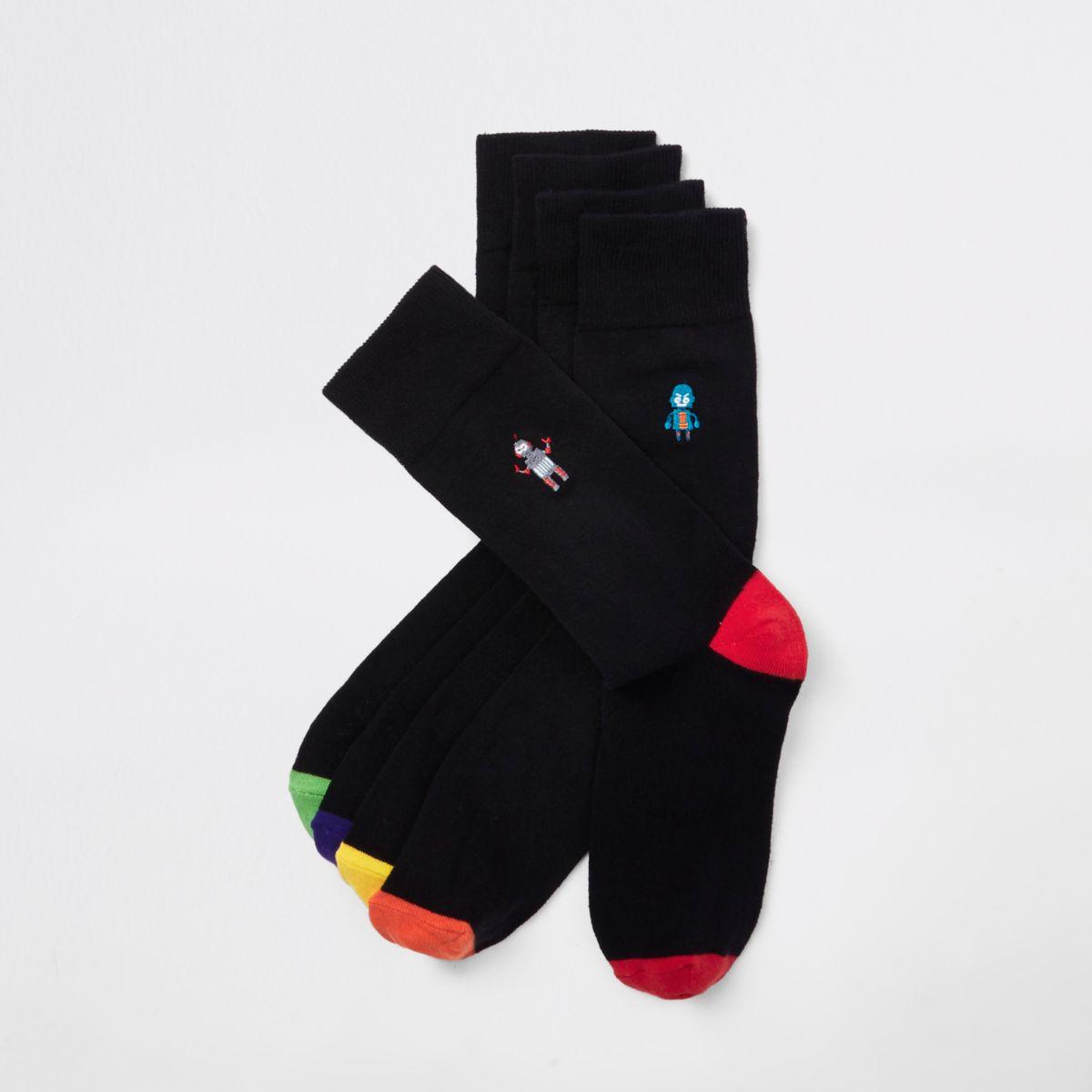 Black robot print socks multipack