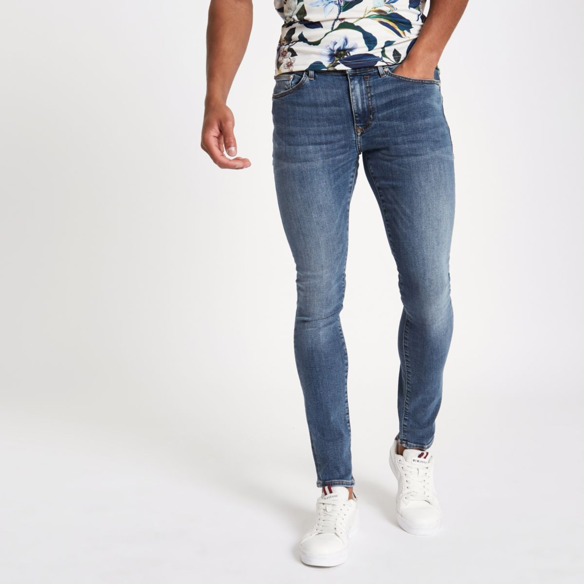 Mid Blue Dylan Super Skinny Jeans by River Island