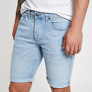 Light blue skinny denim shorts