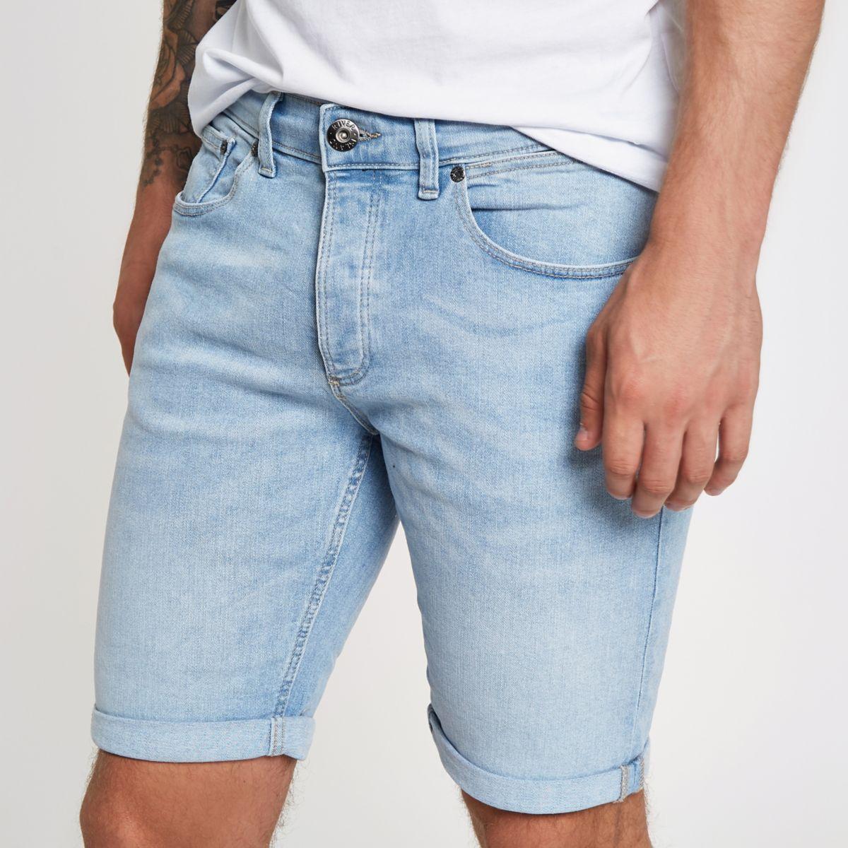 Light blue skinny denim shorts