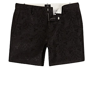 Black jacquard slim fit chino shorts