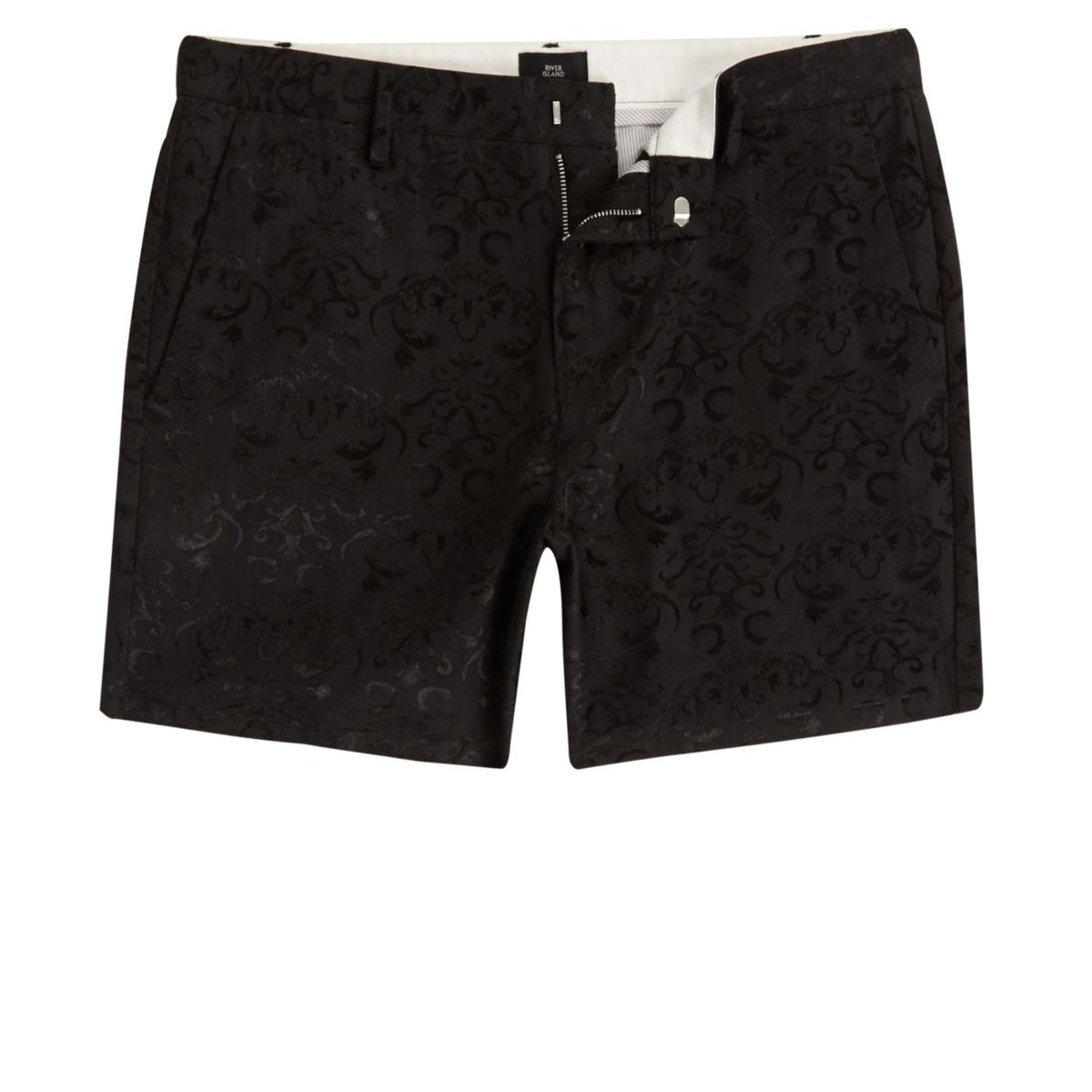 Schwarze Slim Fit Chino-Shorts