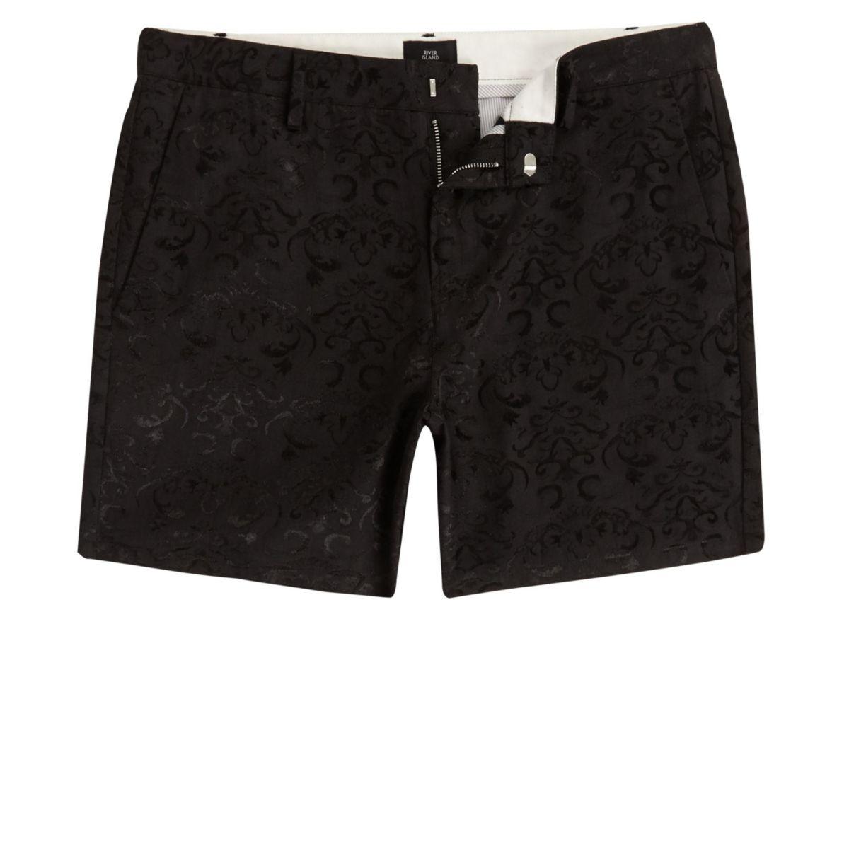 Black jacquard slim fit chino shorts