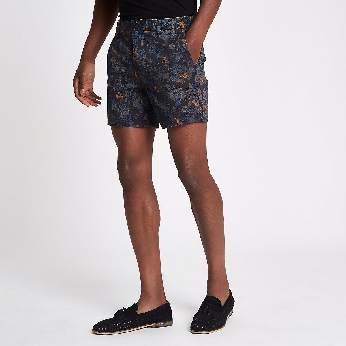 Blue paisley print slim fit chino shorts