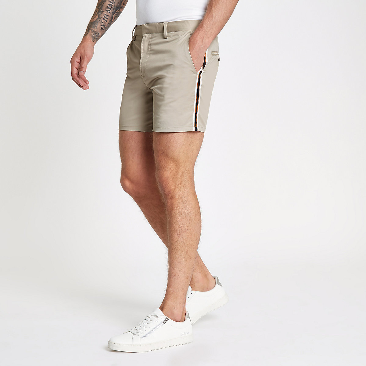 Light brown tape side slim fit chino shorts