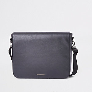 Black flapover satchel bag