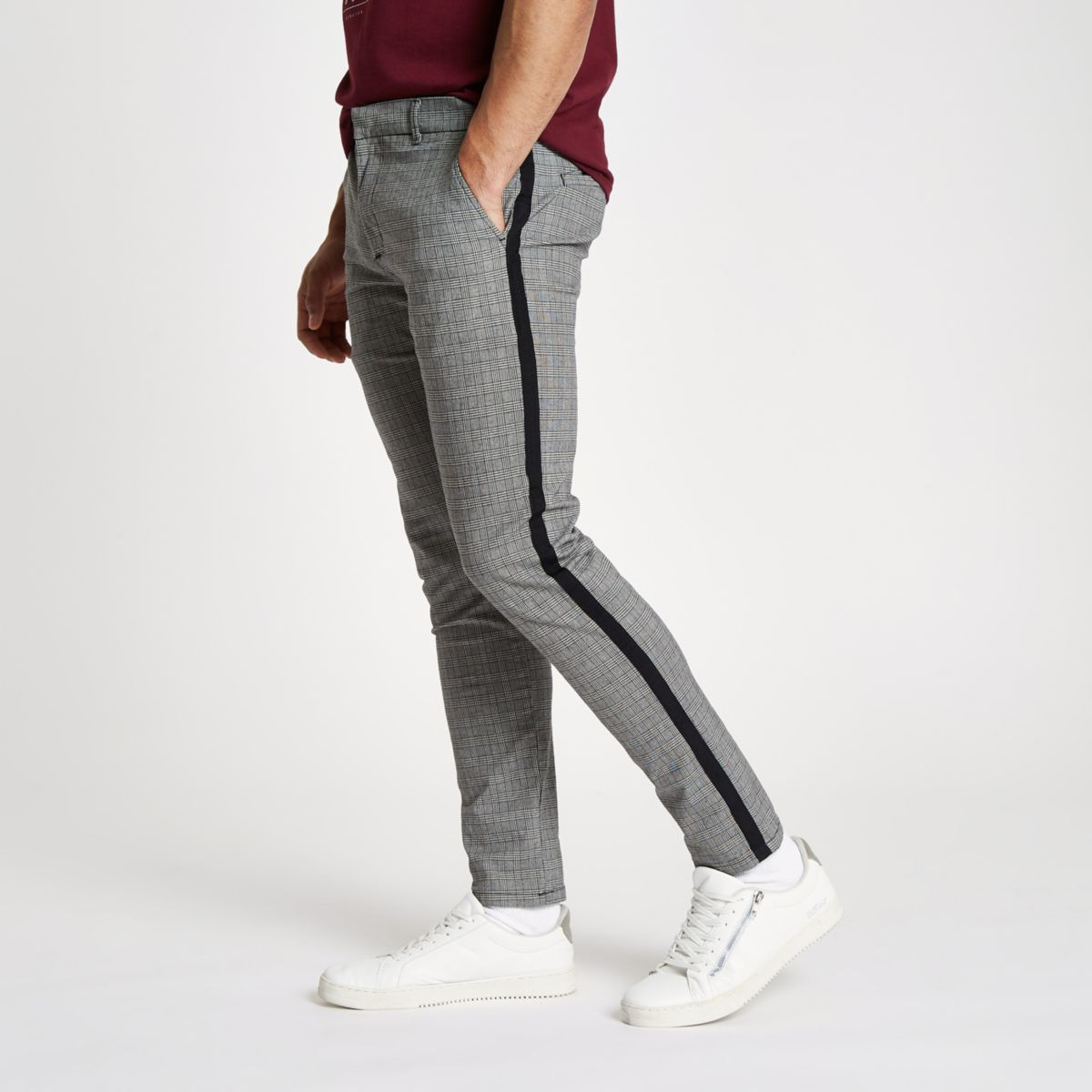 Grey check skinny fit  tape chino trousers