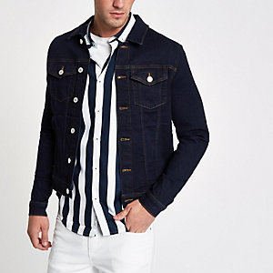 Dark blue muscle fit denim jacket