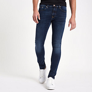 Danny – Dunkelblaue, dehnbare Super Skinny Jeans