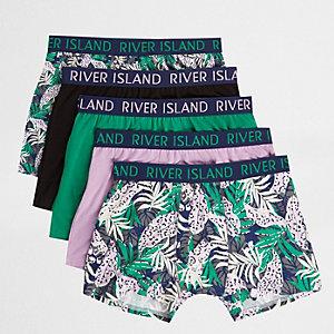 Pinke Hipster-Slips mit tropischem Print, Set