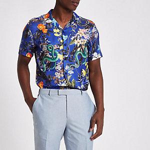 Chemise manches courtes à fleurs bleue