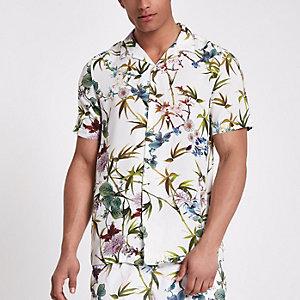 Chemise à imprimé fleuri blanche à manches courtes