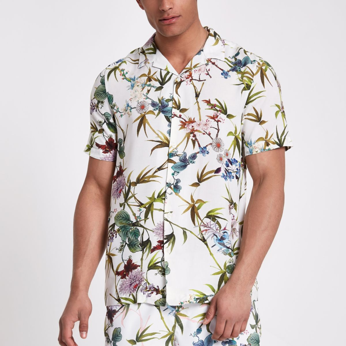 White floral short sleeve shirt