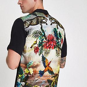 Shirt met korte mouwen en zwarte print op de rug