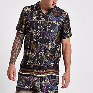 Zwart overhemd met goudkleurige print en korte mouwen