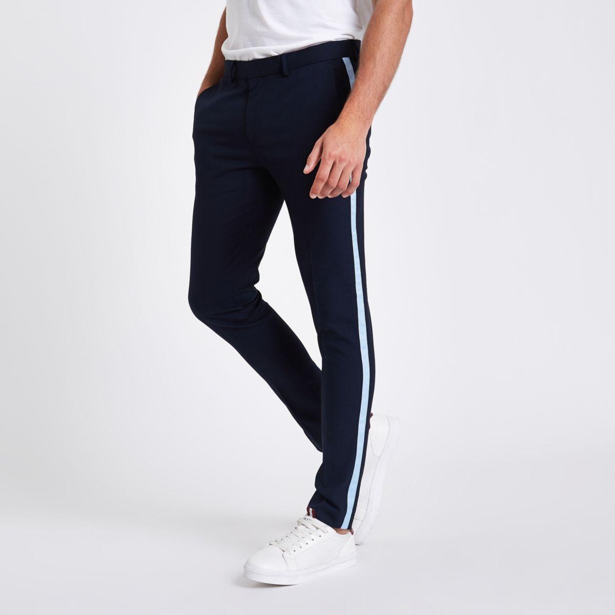 Navy tape side skinny smart pants