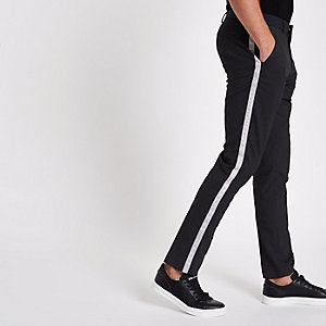 Grey tape side skinny smart pants