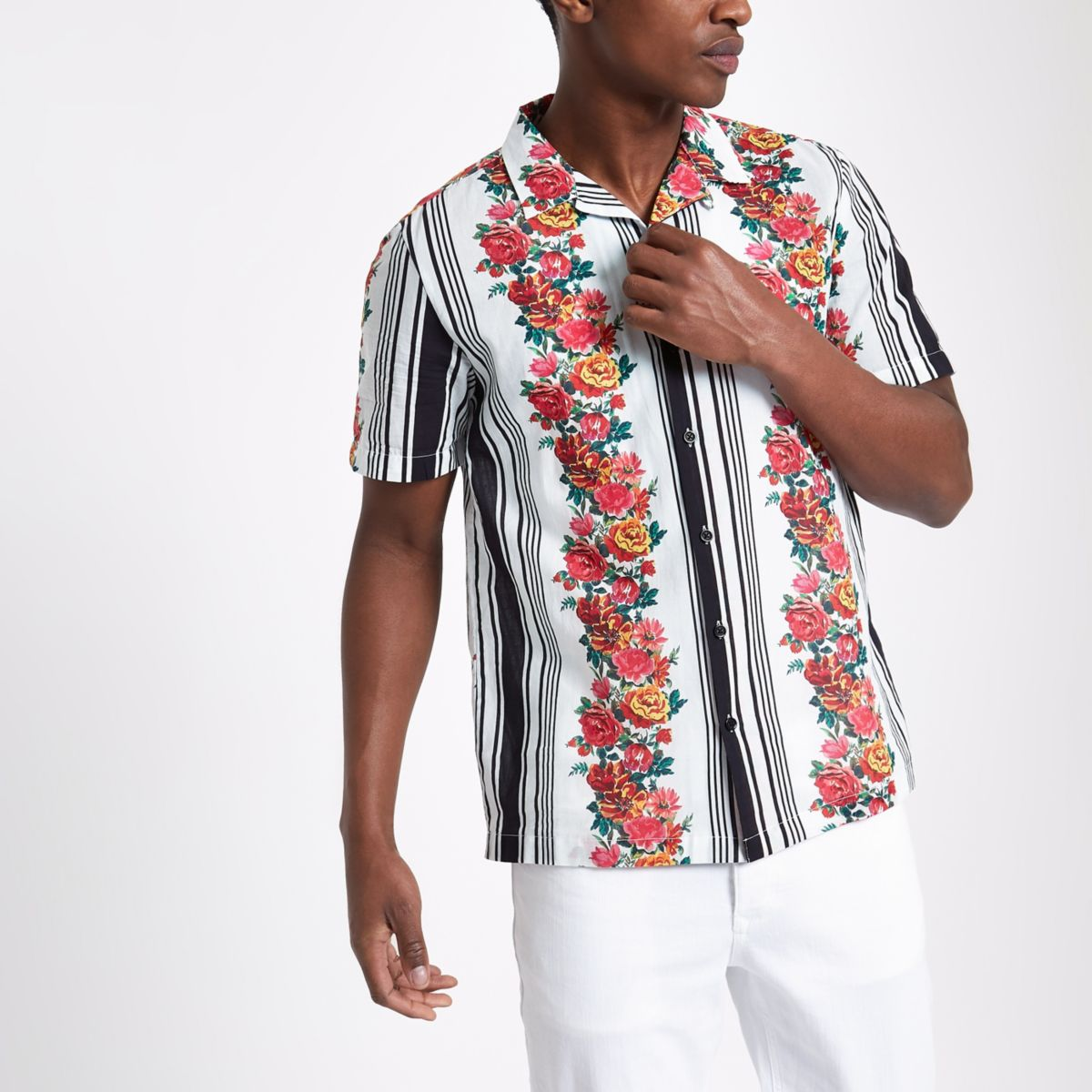 White floral stripe print short sleeve shirt