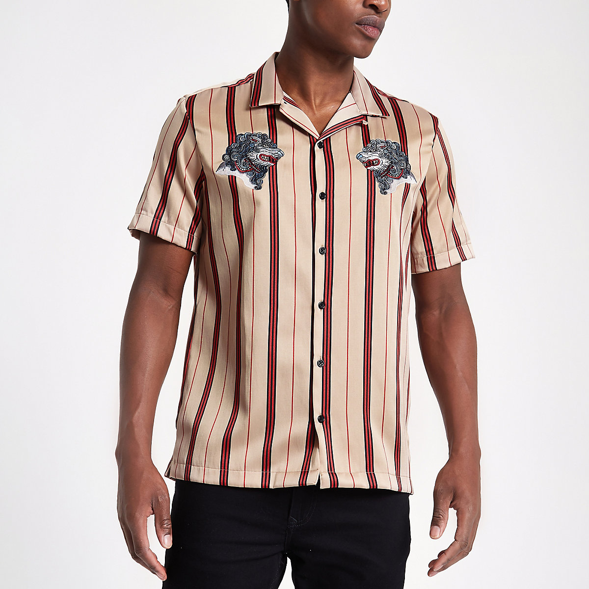Stone stripe wolf embroidered revere shirt