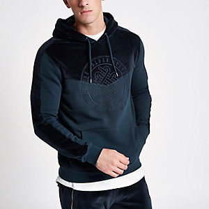 Navy 'Golden State' velvet block hoodie