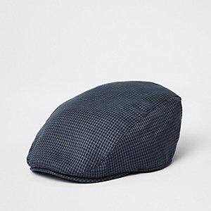 Navy check flat peak cap