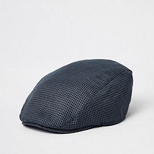 Navy check flat peak cap