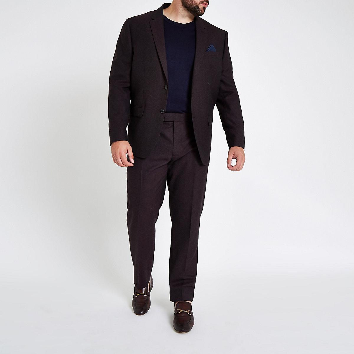 Big & Tall purple slim fit suit trousers
