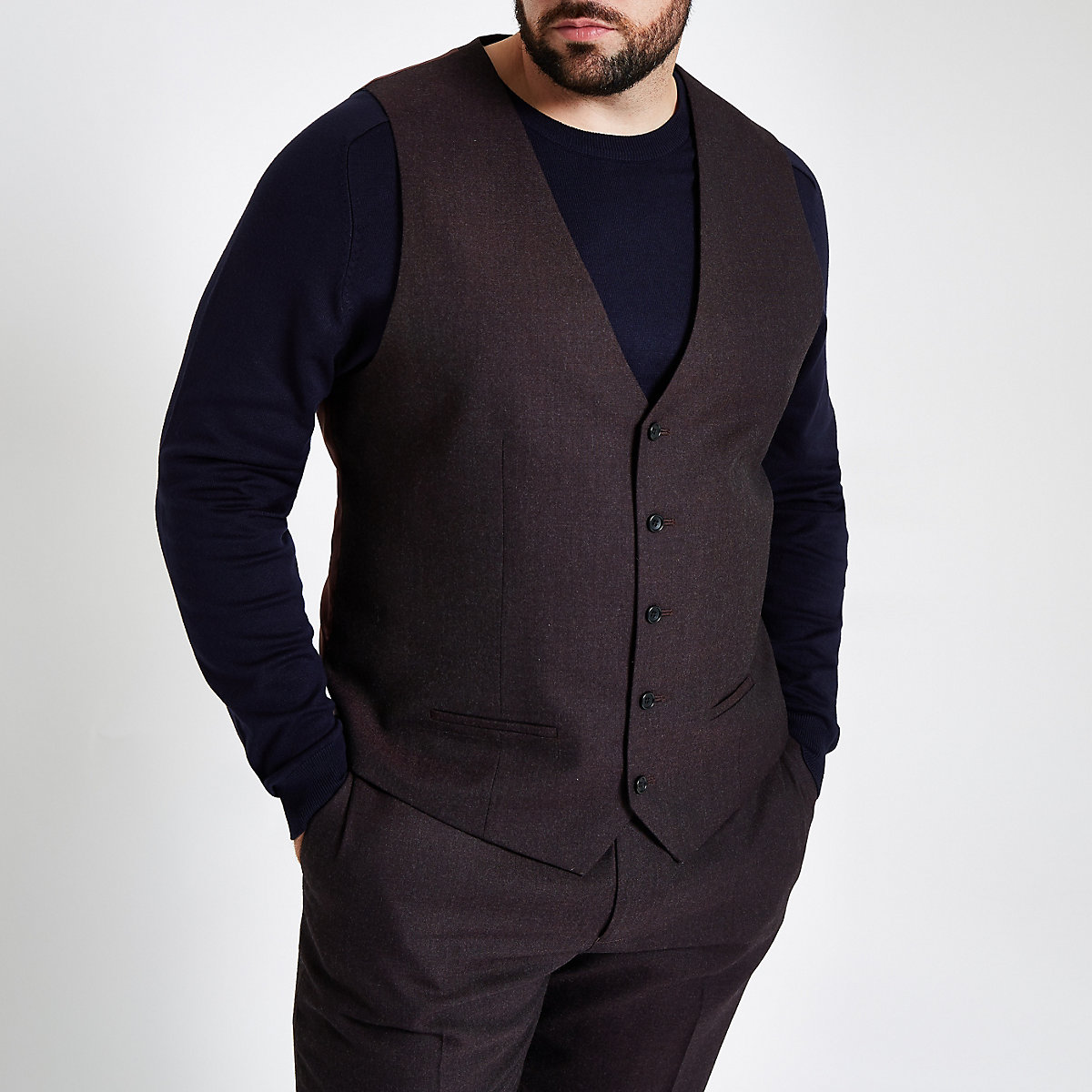 Big and Tall purple waistcoat
