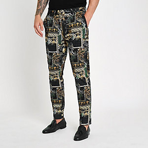 Black print smart pants