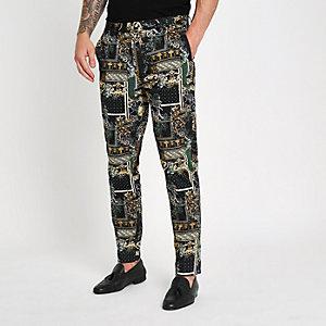 Zwarte nette broek met print