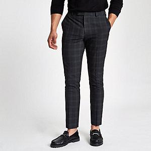 Donkergrijze geruite nette skinny-fit broek