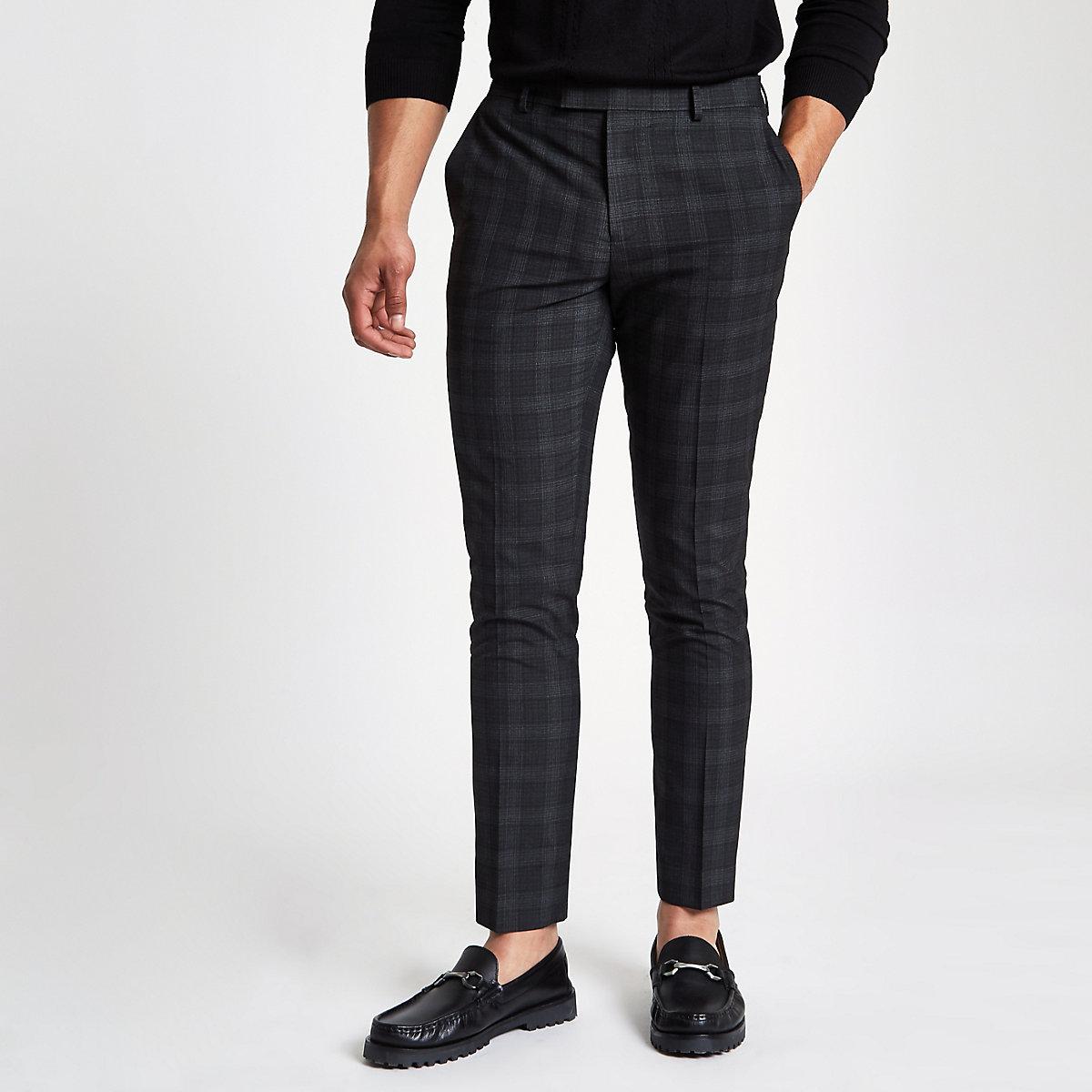 Dark grey check skinny fit smart pants