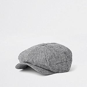 Grey check baker boy cap