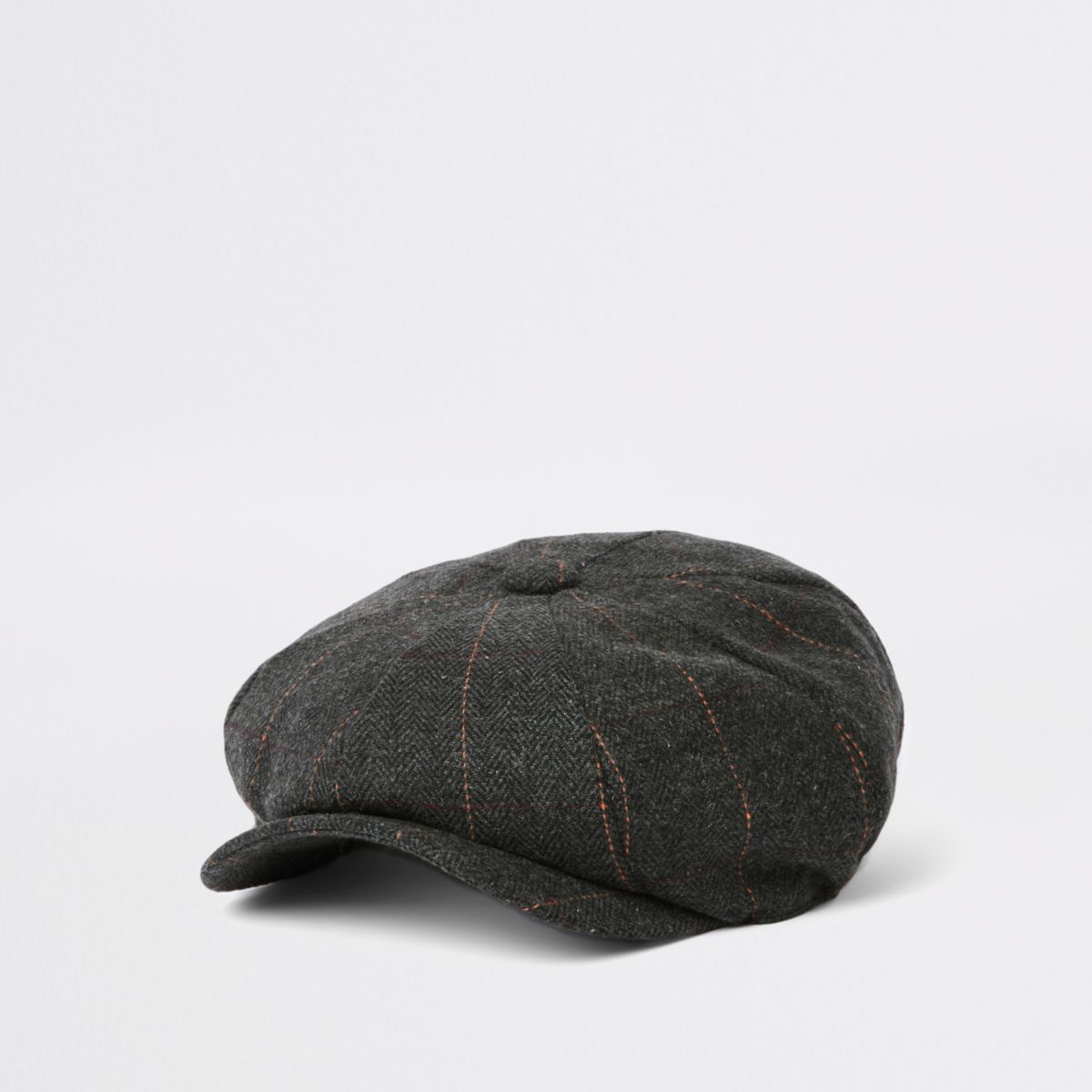 Grey herringbone baker boy cap