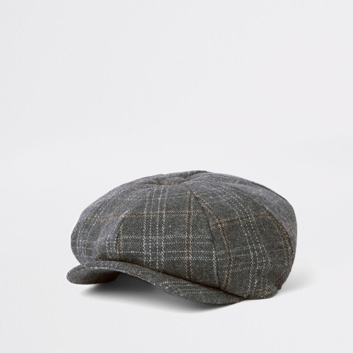 Dark grey check baker boy cap