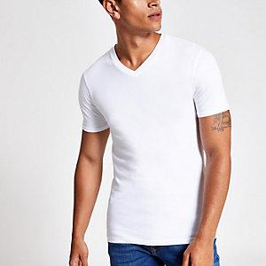 Weißes Muscle Fit T-Shirt mit V-Ausschnitt