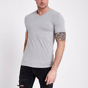 Graues Muscle Fit T-Shirt mit V-Ausschnitt