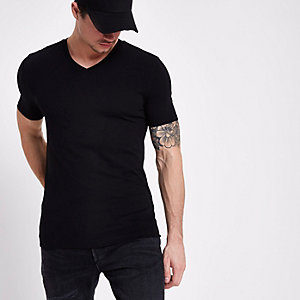 Black muscle fit V neck T-shirt