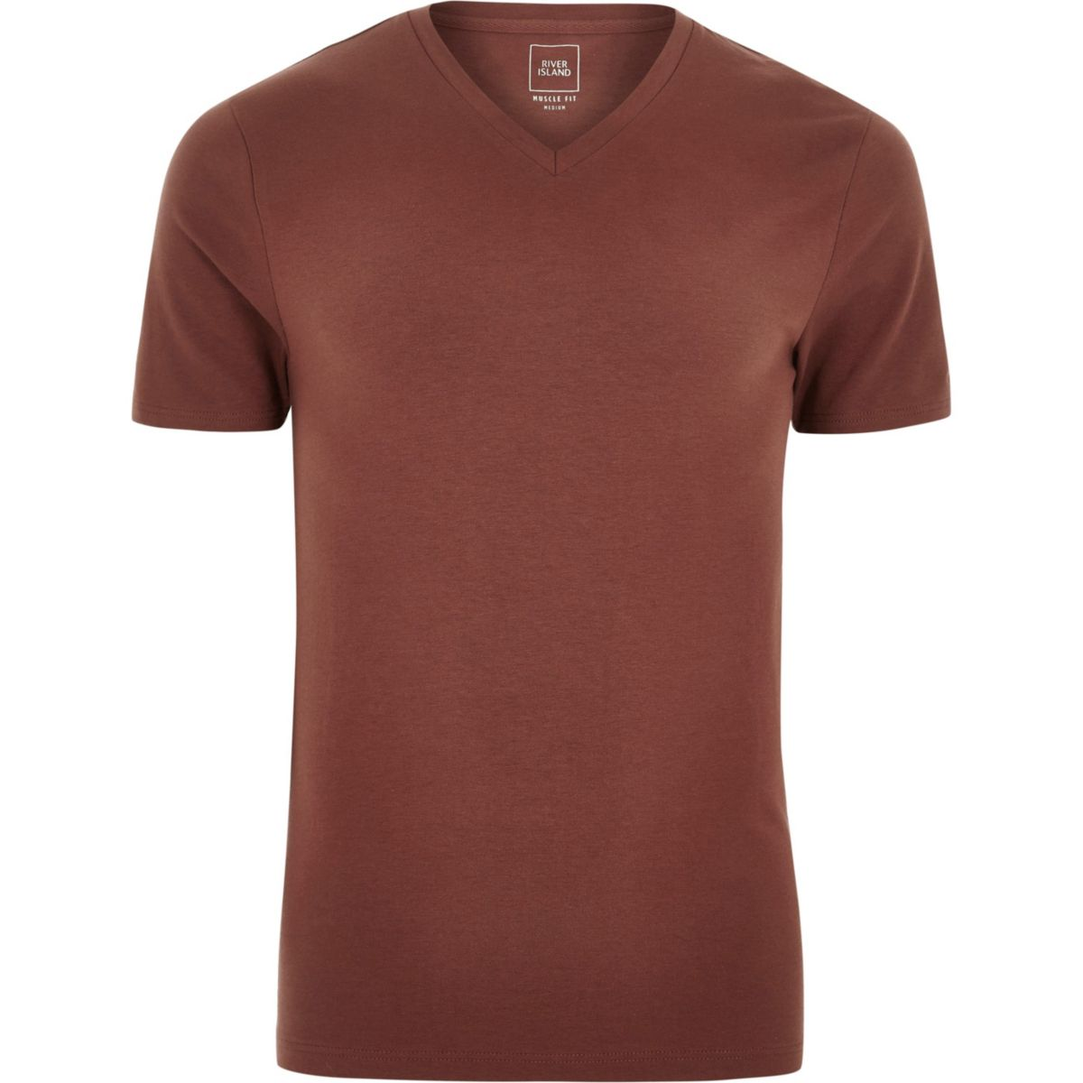 T V shirt Brown fit neck muscle wvBYxIZq