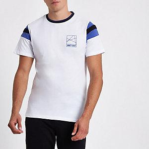 Wit slim-fit T-shirt met 'Ninety eight'-print