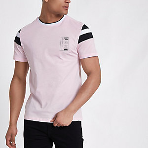 Roze slim-fit T-shirt met 'Ninety eight'-print