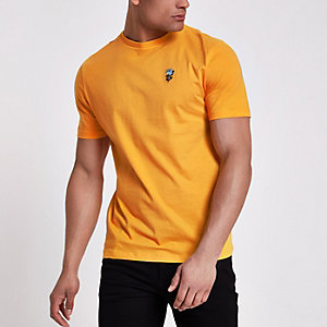 T-shirt slim jaune à rose brodée