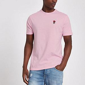 Roze slim-fit geborduurd T-shirt met rozenprint